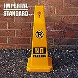 No Parking Cones - 28'' Yellow Cones with No Parking Signs - Parking Cones - Safety Cones - Construction Cones - Street Cones (4 pack)