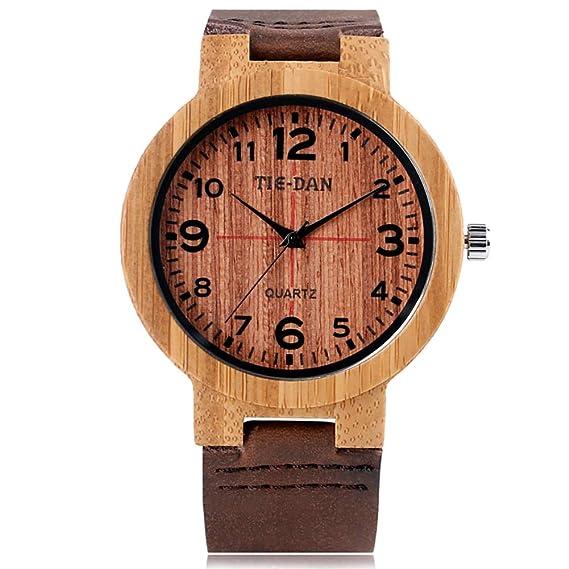Reloj de Pulsera de Madera de bambú para Hombre, Reloj de Pulsera con Cuero auténtico
