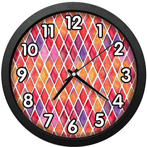 47BuyZHJX 12 inch Large Digital Silent Quartz Movement Wall Clock,Backdrop Pattern-Diamond Shaped Mosaic Crossed Geometric Forms in Watercolor Picture,Home School Office Wall Clock