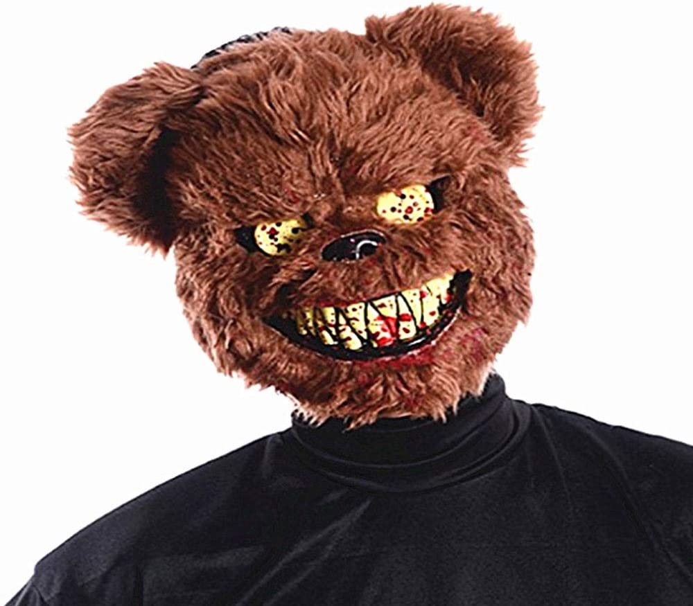 Plush Bear Mask Brown Wild Animal Fancy Dress Up Halloween Costume Accessory