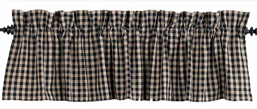 Home Collection by Raghu, Black/Nutmeg Heritage House Check Valance, 72 by 15.5-Inch