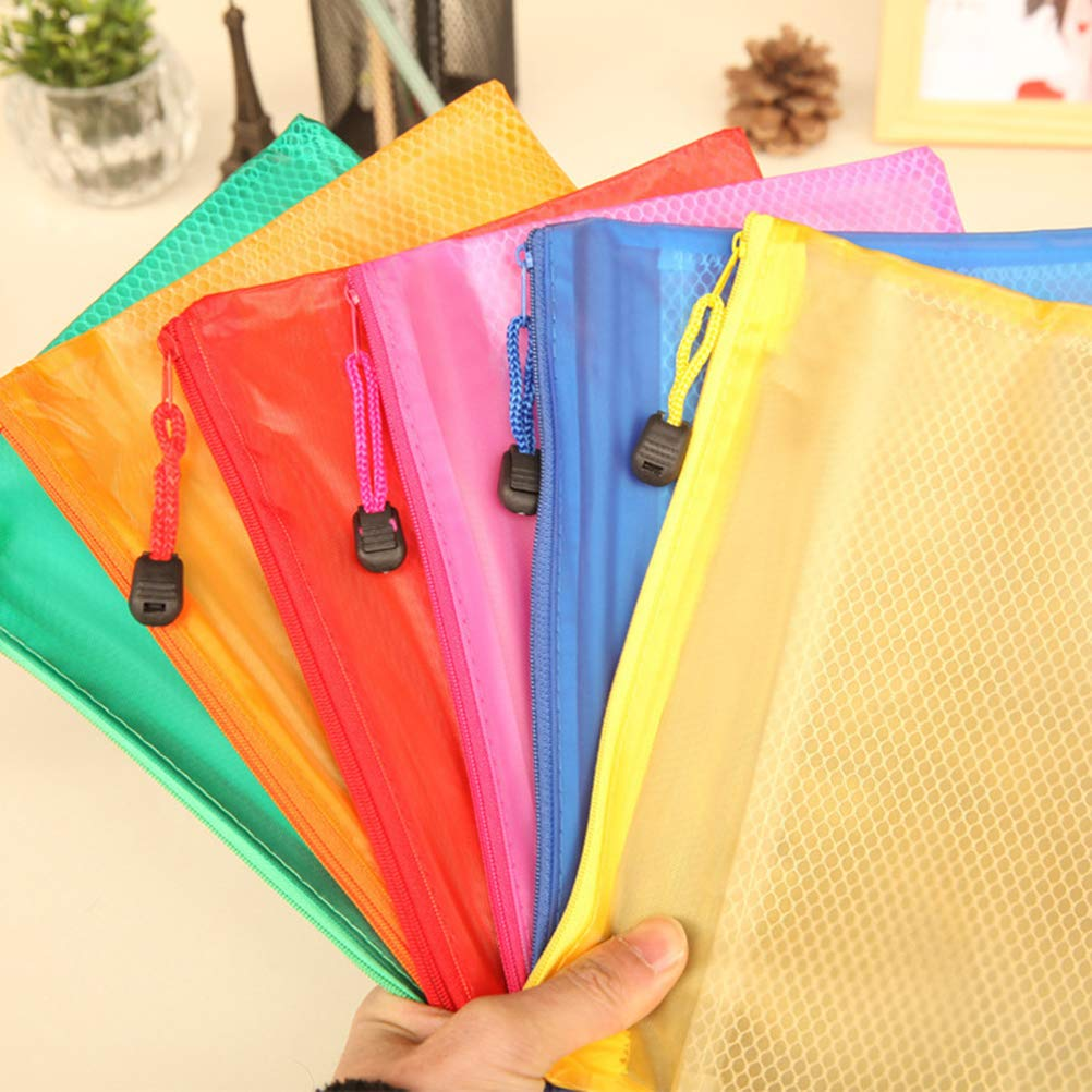 A6 Mesh Zipper File Bag Waterproof Pencil Bag for Office School Supplies 12 Pieces Random Color TOYMYTOY Portable Office Stationery Bag