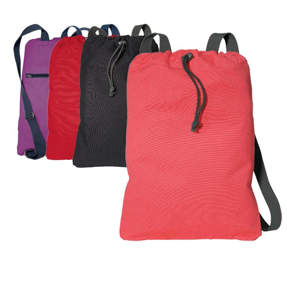 キャンバスCheap巾着バッグ/バックパック(コントラスト帯ひもストラップとA大ファスナー付きポケット) B01CD1Q73W ブラック/チャーコール ブラック/チャーコール