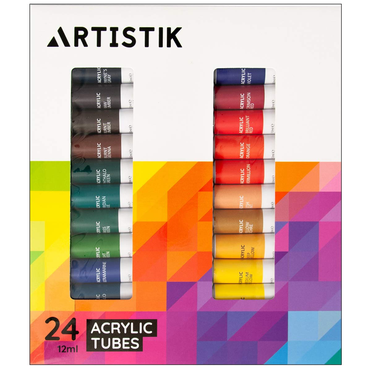 Acrylic Paint Set - 24 Piece Set of Professional Painting Acrylic Paints with Vivid Pigments and Rich Colours Perfect for Any Age and Skill Level (Set of 24 Tubes) Artistik