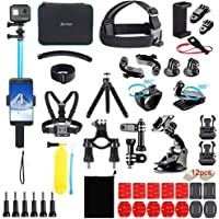 Artman Action Camera Accessories Kit 60-in-1 for Gopro MAX GoPro Hero 9 8 7 6 5 Session 4 3+ 3 2 1 Black Silver SJ4000…