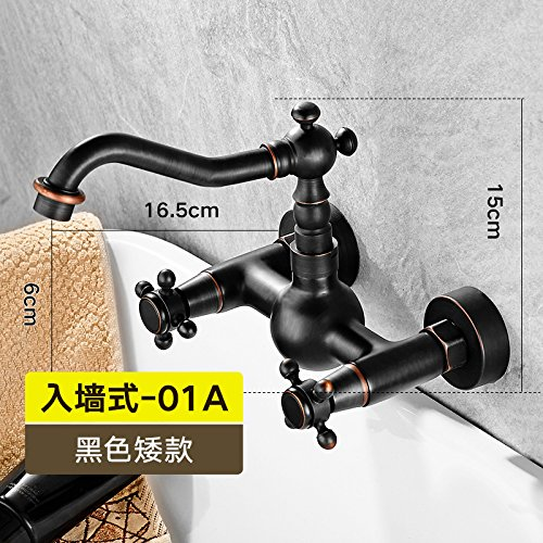 Black Low) - Hand Wheel Hlluya Professional Sink Mixer Tap Kitchen Faucet The bathrooms are black into full-wall copper wall replica antique faucet hand wash basin cold and hot-hole taps, Black High - the hand wheel