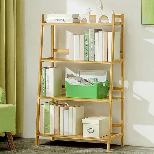 Bambú Repisa escalera Estantería de bambú,Montaje fácil Librería anaquel Estantes de madera abiertos Espesado Estante del almacenaje Multifuncional Para hogar u oficina-B 70x35x115cm(28x14x45inch): Amazon.es: Hogar