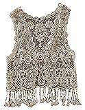 BPrincess Baby Girls White Crochet Tassel Edge Sleeveless No Closure Cardigan, Beige One Size