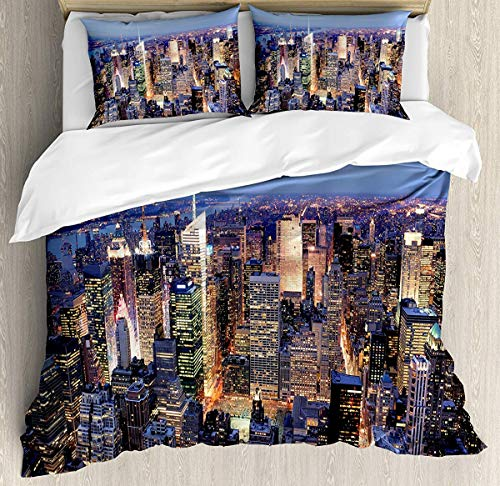 Duvet Manhattan Cover Polyester - New York Duvet Cover Set King Size - Aerial View of NYC Full of Skyscrapers Manhattan Times Square Famous Cityscape Panorama - Decorative 3 Piece Bedding Set with 2 Pillow Shams - Blue