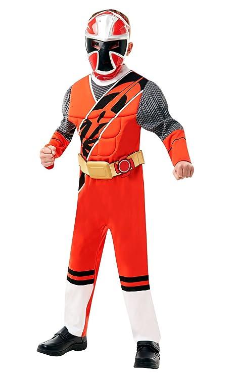 DLX. Ranger rojo - Ninja Steel - Power Rangers - Disfraz de disfraz para niños - Pequeño - 104cm - Edad 3-4