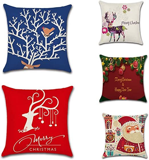 Reiko Series De Navidad Christmas Series 5 Pack Cuadrado Lino ...
