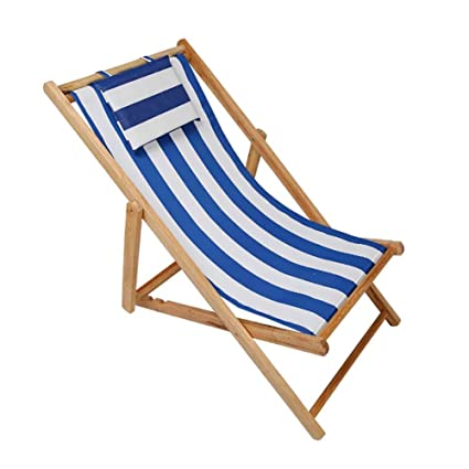 Amazon.com: Beach Chair Wood Deck Chair Outdoor Folding Canvas ...