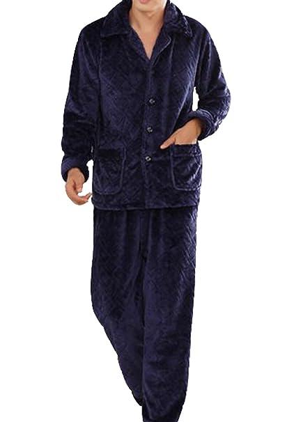 Pijama De Franela Caliente De Los Hombres De Espesor Dos Conjuntos De Chándal,Blue-
