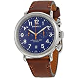 Shinola The Runwell Chrono Blue Dial Brown Leather Mens Watch S0100117