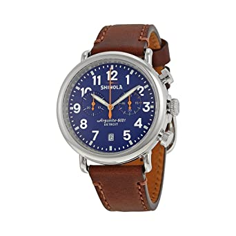ea72d888f Image Unavailable. Image not available for. Color: Shinola The Runwell  Chrono Blue Dial Brown Leather Mens Watch S0100117