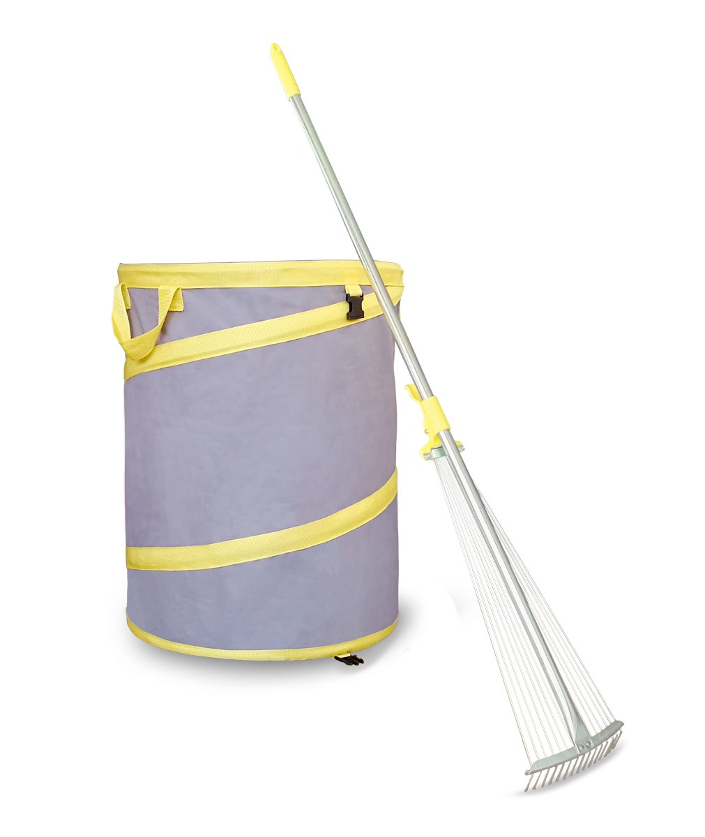 Jardineer 2 Piece Gardening Tools with Expandable Garden Leaf Rakes, Reusable Yard Waste Bags, Yard Tools with Adjustable Yard Rake for Leaves, Collapsible Trash Can, Heavy Duty Leaf Bags