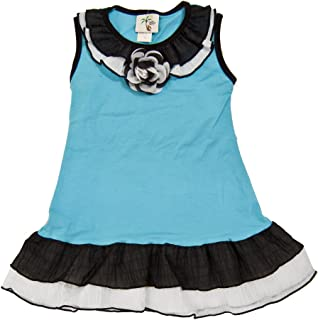 product image for Cheeky Banana Little Girl's Knit Ruffle Dress in Turquoise Black & White