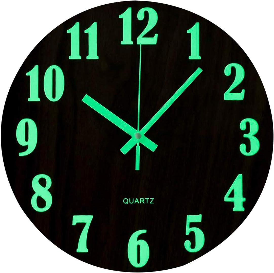 Topkey - Reloj de pared luminoso de 12 pulgadas, diseño de madera silenciosa, luces nocturnas, reloj de pared redondo para salón y dormitorio (batería no incluida), color marrón