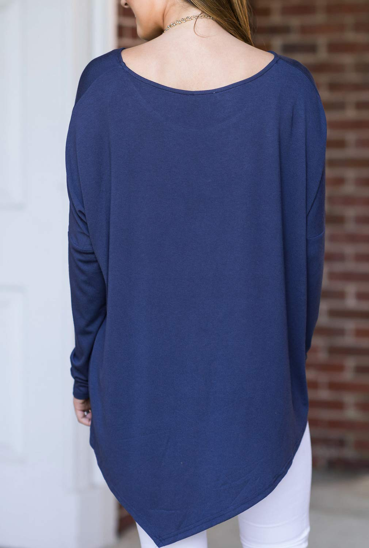 Blooming Jelly Ladies Long Sleeve Top Longline T Shirt Asymmetric Hanky Hem Tunic Boat Neck Jumper For Women Navy Blue,S