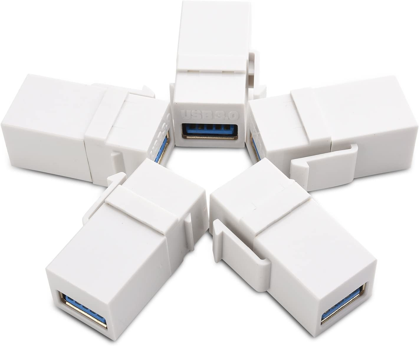 NavePoint USB 3.0 B Female to Female Keystone Adapter White 25-Pack