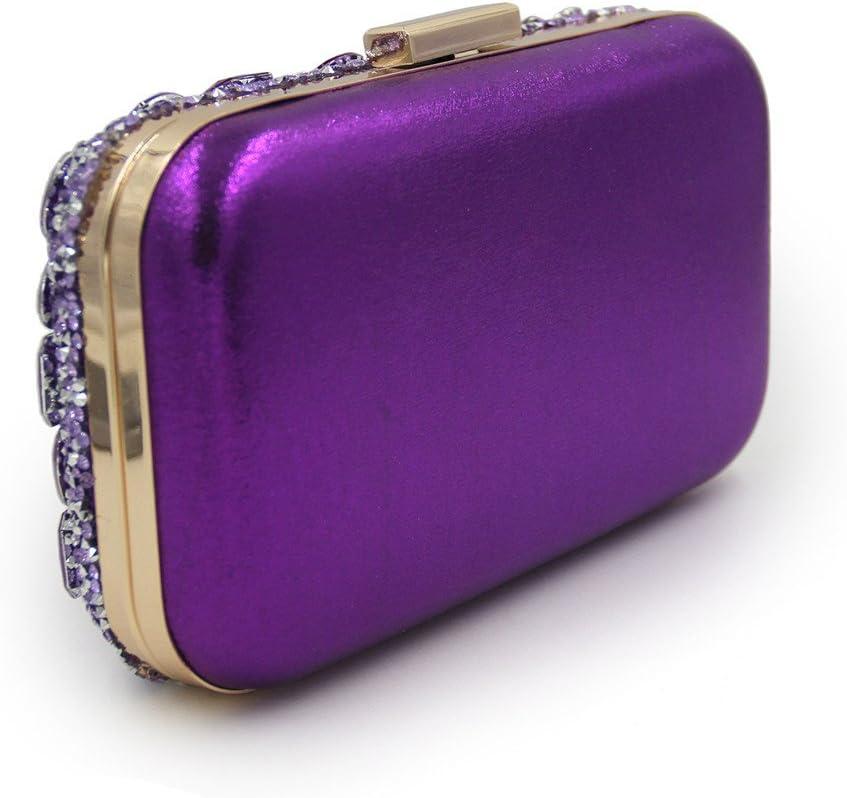 Sac de soirée pour Dames Nouvellement Mousseux Strass Sac De Soirée Lady Banquet De Cosmétique Sac Nuptiale De Mariage Pochette (Color : Red) Purple