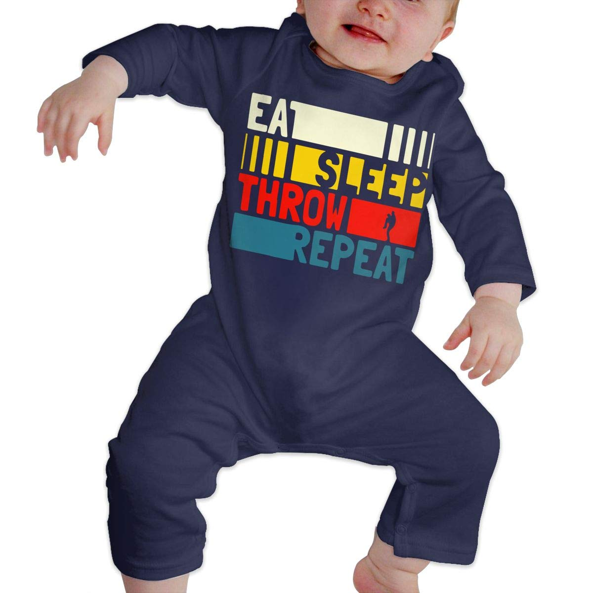 Mri-le1 Baby Girl Coverall Eat Sleep Throw Repeat Baby Rompers