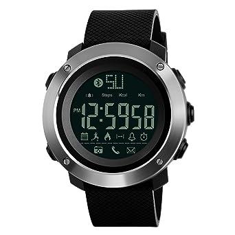 Relojes deportivos calorías llamada recordatorio Bluetooth cámara remota impermeable pulsera deporte reloj de pulsera: Amazon.es: Relojes