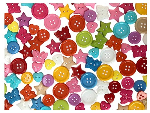 Craft Jewelry Art (Peachy Keen Crafts - 250 Piece Value Pack of Assorted Buttons - Perfect for Kids Arts and Crafts, DIY Gifts, Christmas Decorations and Homemade Jewelry)