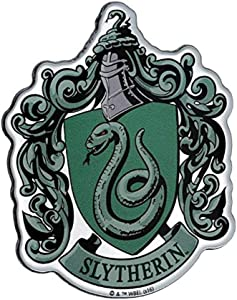 Fan Emblems Slytherin Crest Car Decal Domed/Multicolor/Chrome Finish, Harry Potter Automotive Emblem Sticker Easily Applies to Cars, Trucks, Motorcycles, Laptops, Cellphones, Windows, Almost Anything