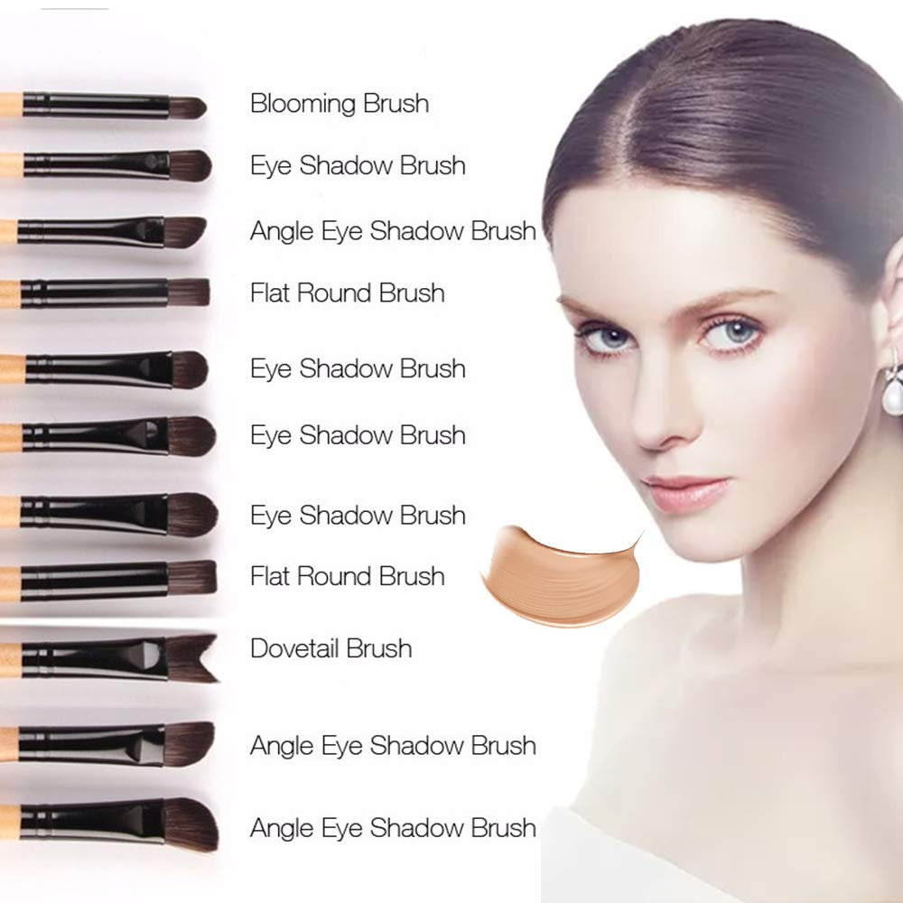 AIDUE 32Pcs Makeup Brushes Eye Brushes Eyeshadow Brush Set Blending Brushes Eyeliner Brush Eye Makeup Brushes Set Cosmetic Make Up Set + Pouch Bag Case(Wood)