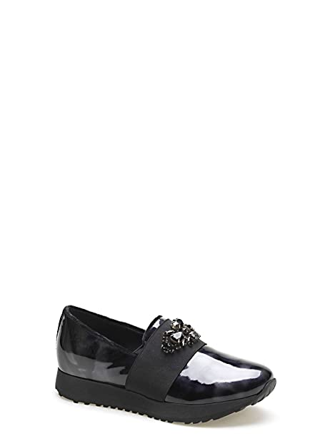 SCARPE SLIP ON PELLE ELASTICO NERO PIETRE GEMME APEPAZZA DONNA  Amazon.it   Scarpe e borse 99725db30e4
