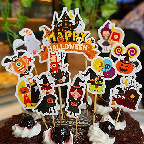 11pcs Halloween Cake Cupcake Flag Topper Party Dessert