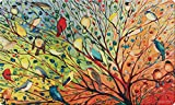 Toland Home Garden Tree Birds 18 x 30 Inch Decorative Floor Mat Colorful Bird Branch Collage Doormat