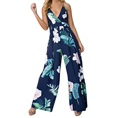 f7bd64e14128 Sunyastor Floral Jumpsuits for Women s V Neck High Waist Sleeveless Wide  Leg Pants Trousers Printed Clubwear