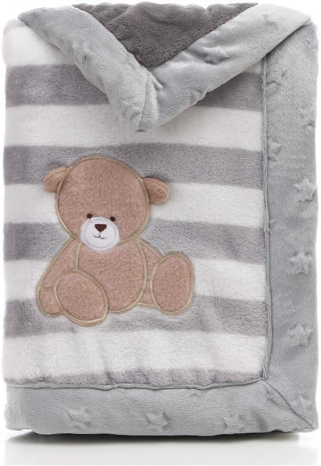 Manta para bebé LANDOR de doble capa de franela suave manta para bebé de invierno cálido rayas de felpa manta para niños pequeños cómoda manta para cochecito gris Grauer Bär