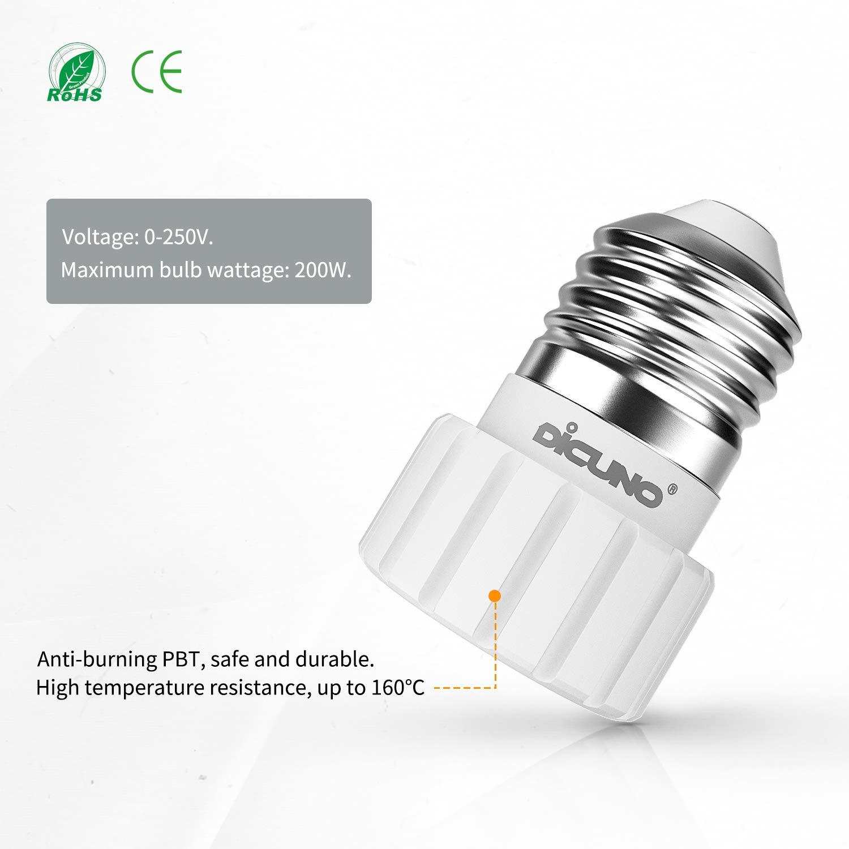 DiCUNO E27 vers GU10 Adaptateur de douille de 6 pi/èces Douille base de lampe pour ampoules LED et ampoules /à incandescence ou ampoules fluocompactes convertisseur de socket