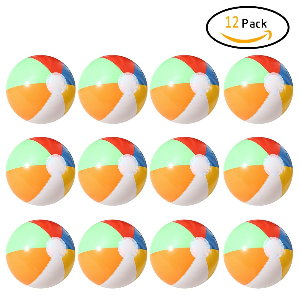 elegantstunning 12 pcs Gonflable 6 Couleurs Traditionnel Balles de Beach Pool Party Jouets Anniversaire dragées