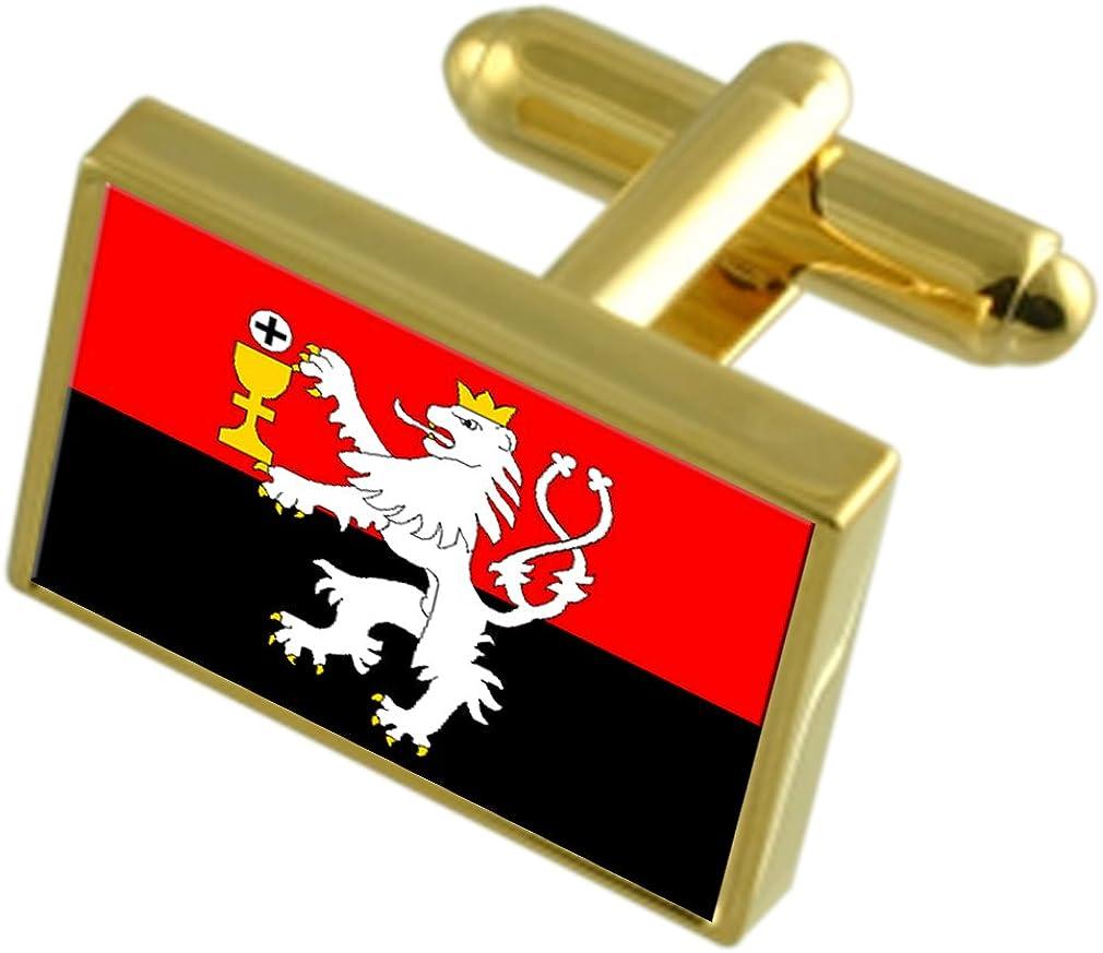 Tabor City Czech Republic Gold-tone Flag Cufflinks
