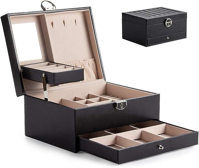 Caja joyero Caja para joyas Caja de Relojes Estuche Rectangular para Guardar Joyas Caja Joyero con Espejo y cerradura, Adecuado para pendientes, anillos, collares, pulseras y relojes (Negro-02): Amazon.es: Hogar