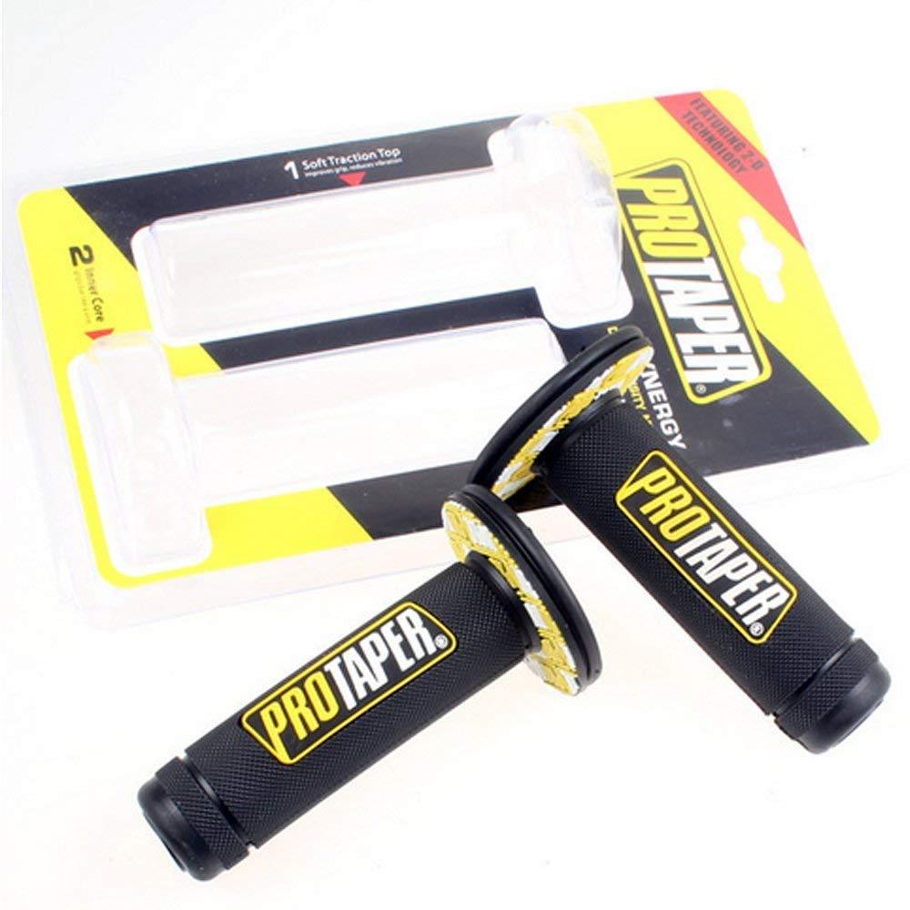 SclMotor Universal 22mm 7/8'' Pro Taper Dirt Pit Bike Grips For YAMAHA SUZUKI BMW HONDA (yellow)
