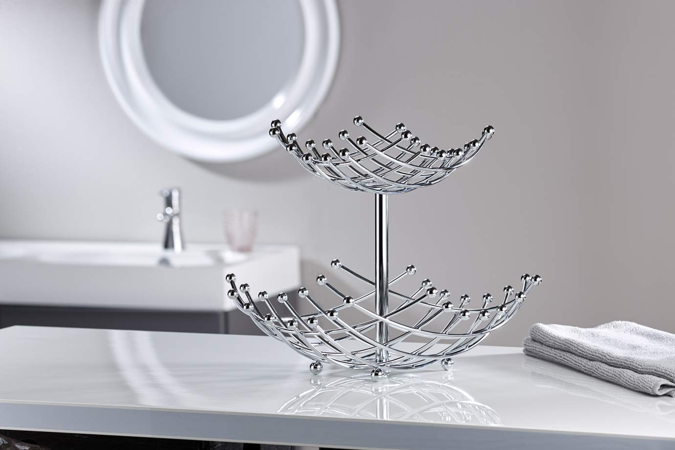 Inspired Living by Mesa Linear fruit-bowls, 2-Tier Basket, SILVER