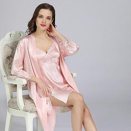 GAOJUAN Pijamas Mujer Verano Seda Sexy Tentación Correa Camisón Sección Delgada V Cuello Satinado Primavera Y
