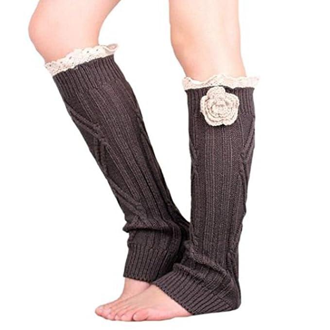 Mujeres Calentadores puños de arranque paso pie hilo de lana de punto más de calcetín de