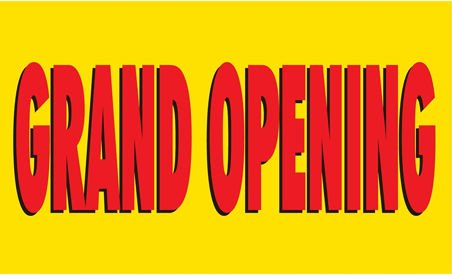 HALF PRICE BANNERS Grand Opening Vinyl Banner -Heavy Duty Outdoor 4X8 Foot -Yellow Easy Hang Sign-Made in USA Includes Zip Ties