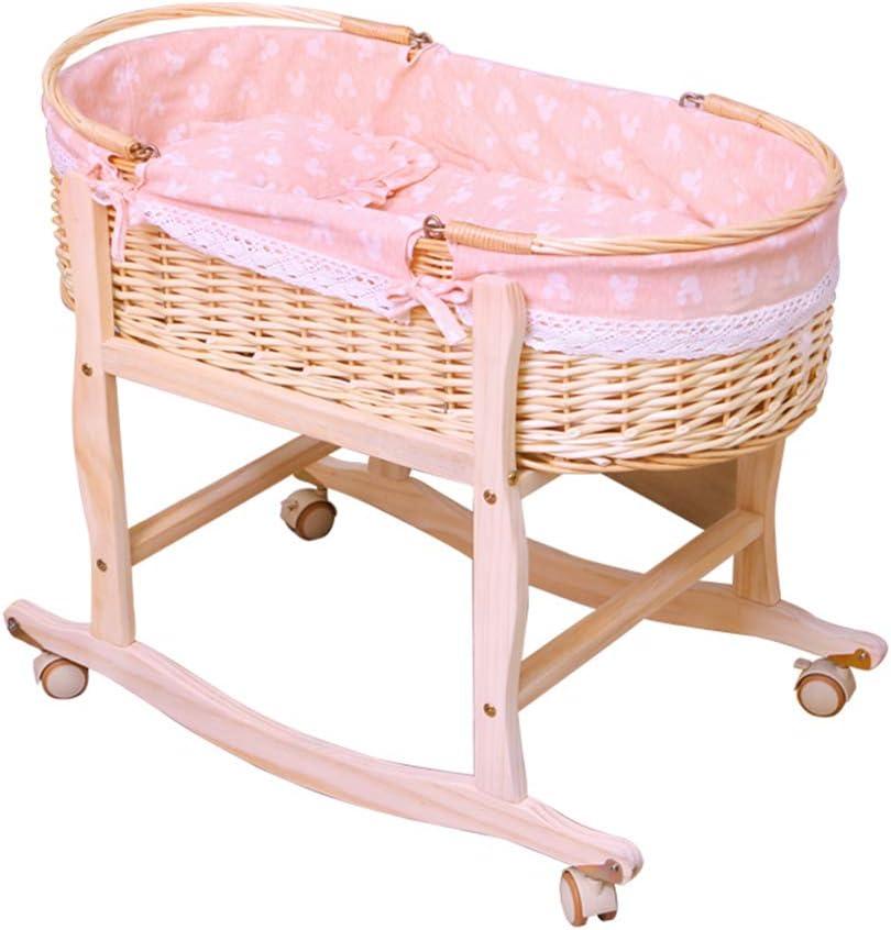GOUO@ Baby Moses Korb Babybett Babybett Rattan Neugeborenen Korb Auto Schlafkorb Babybett Bett Tragbarer Einkaufskorb