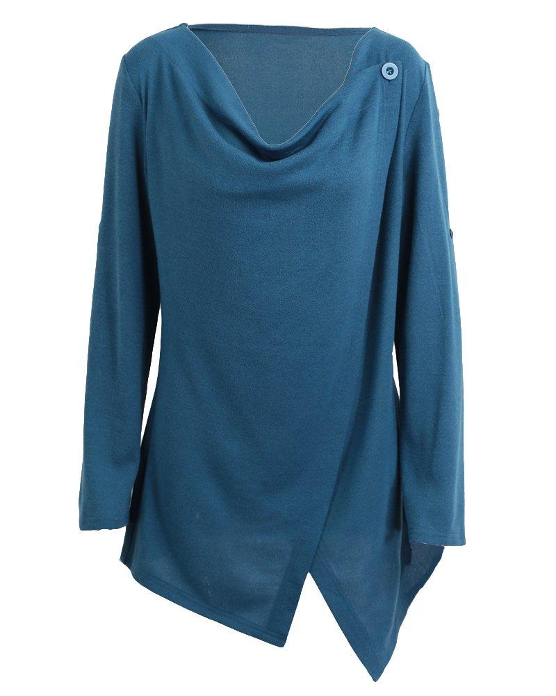 Romacci Women's Fashion Knitwear Asymmetric Irregular Hem Split Wrap Sweater Poncho Coat Casual Tops Sweatshirt