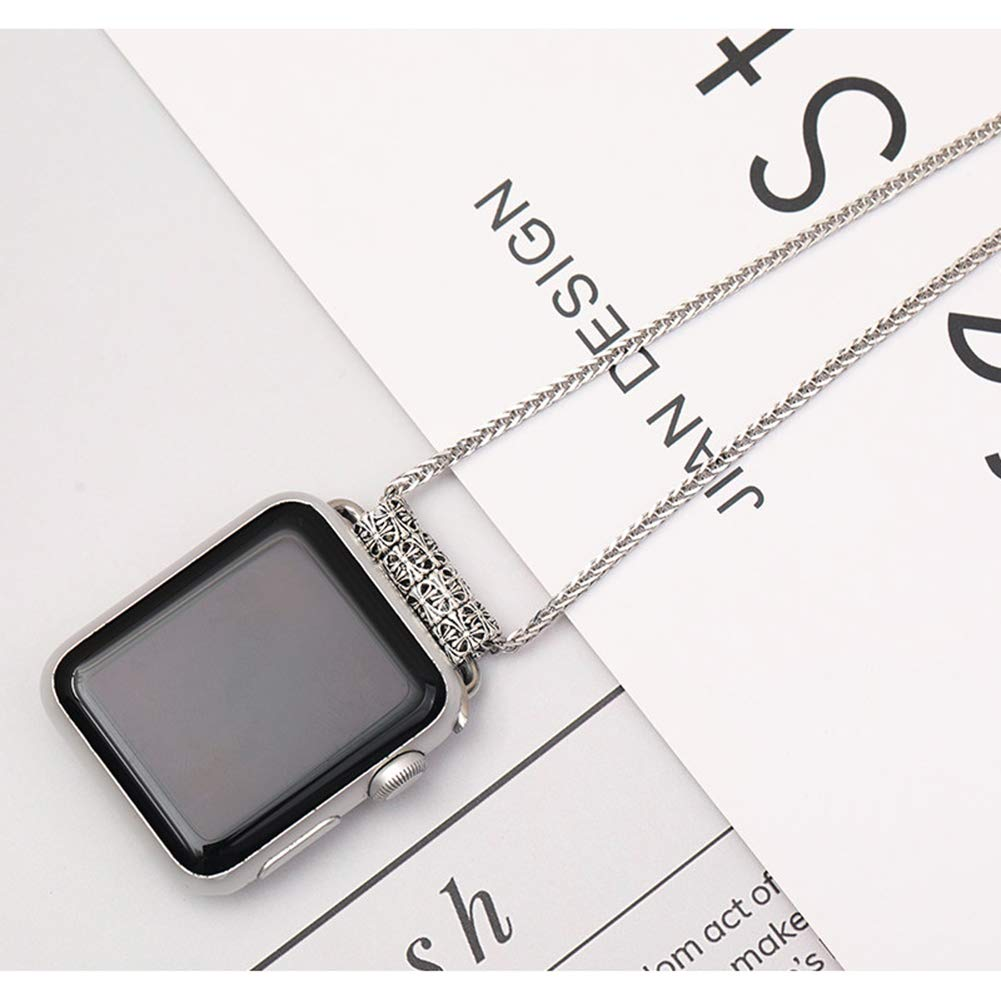 S925 Silver Chain Necklace Compatible Apple Watch 38/40/42/44 mm iwatch Series 4/3/2/1, Neckband Replacement Accessories Wearable Technology Women Men,38MM40MM by ALXDR