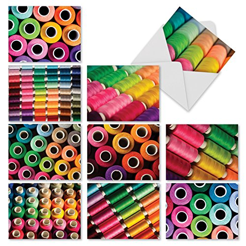 - 10 Vibrant 'Spool Me Once' Thank You Cards with Envelopes 4 x 5.12 inch, Cards with Colorful Photos of Spools of Thread, Boxed Sewing Thank You Note Cards, Bulk Set of Greeting Cards M2094