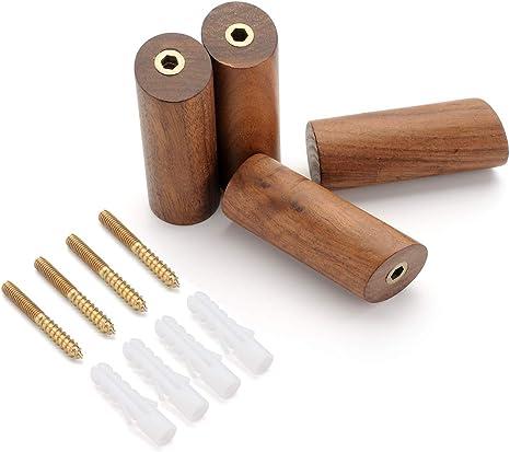 Amazon.com: Juego de 4 ganchos de madera natural para ...