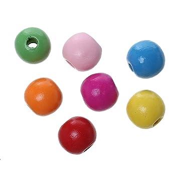 500 Stück Sadingo Holzperlen Natur 2 cm Holz Perlen mit Loch